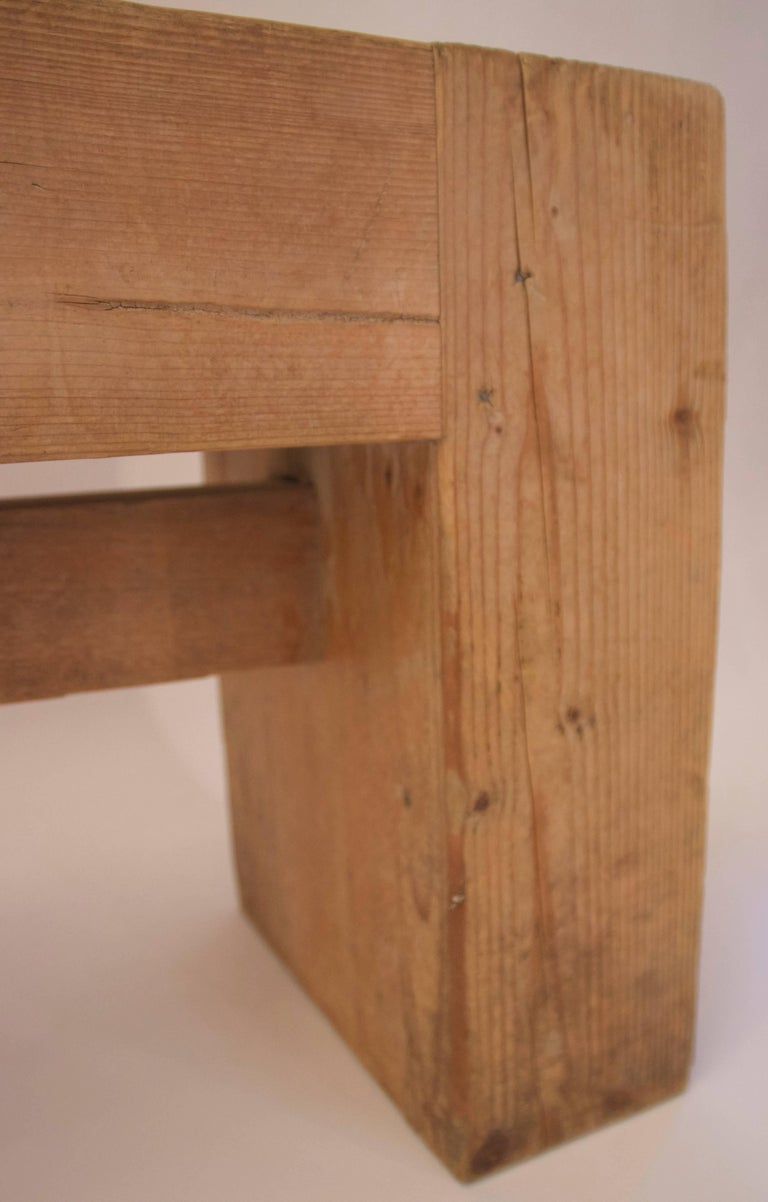 Jean Prouvé with Guy Rey-Millet, Pair of Benches, Wood, circa 1967, France In Good Condition For Sale In Nice, Cote d' Azur