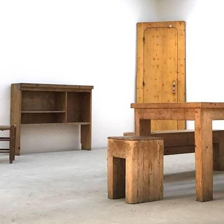 Jean Prouvé with Guy Rey-Millet, Pair of Benches, Wood, circa 1967, France For Sale 1