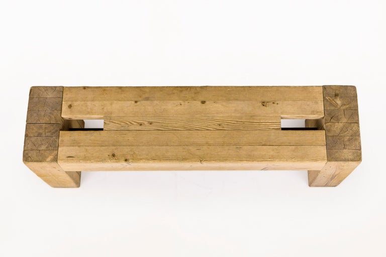 French Jean Prouvé with Guy Rey-Millet, Wooden Bench, France, circa 1967 For Sale