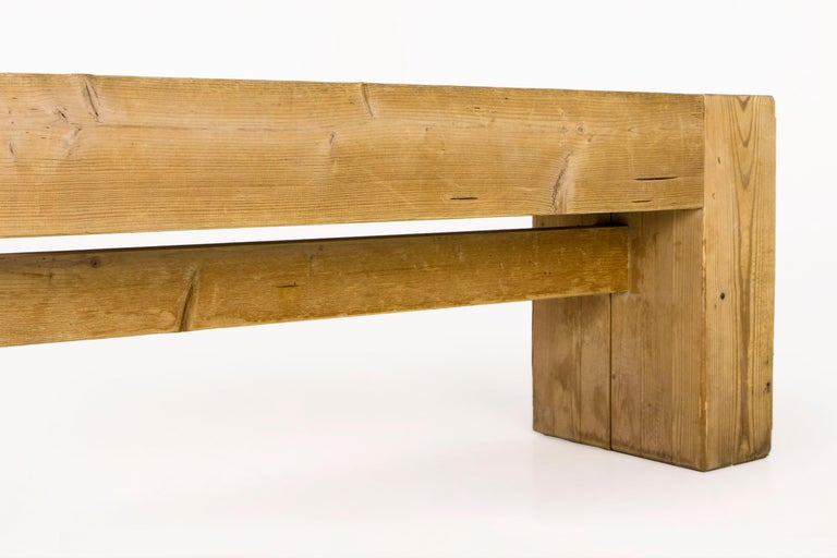 Mid-20th Century Jean Prouvé with Guy Rey-Millet, Wooden Bench, France, circa 1967 For Sale