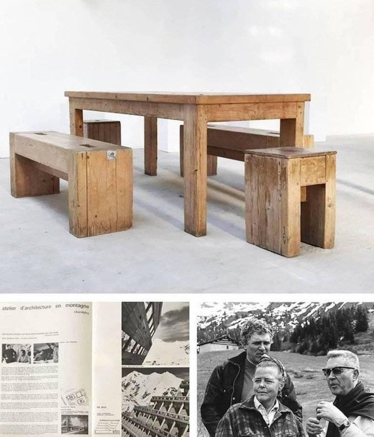 Jean Prouvé with Guy Rey-Millet, Wooden Bench, France, circa 1967 For Sale 2