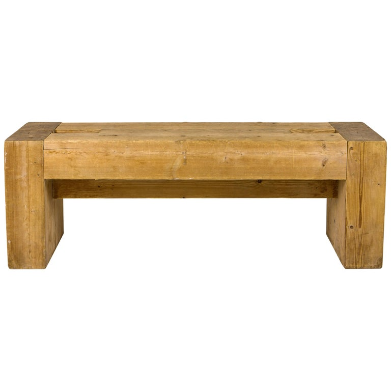 Jean Prouvé with Guy Rey-Millet, Wooden Bench, France, circa 1967 For Sale