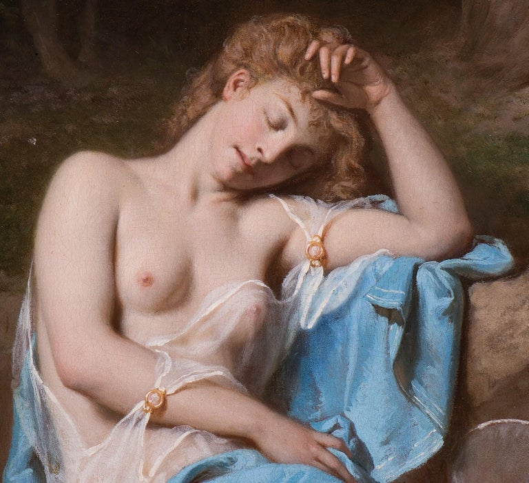 A young lady resting in a wooded glade For Sale 1