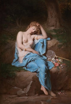 A young lady resting in a wooded glade, Oil on canvas, Framed.