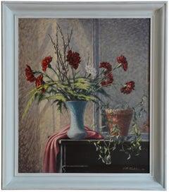 Jean-René Chatelain, Carnation Vase, Oil on Canvas