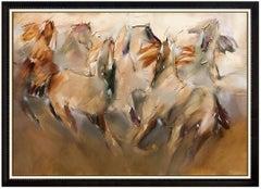 Jean Richardson Large Original Painting Oil On Canvas Signed Horse Framed Art