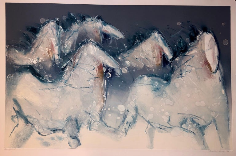 Monoprint Painting Abstract Wild Horses Western Art Jean Richardson American For Sale 8