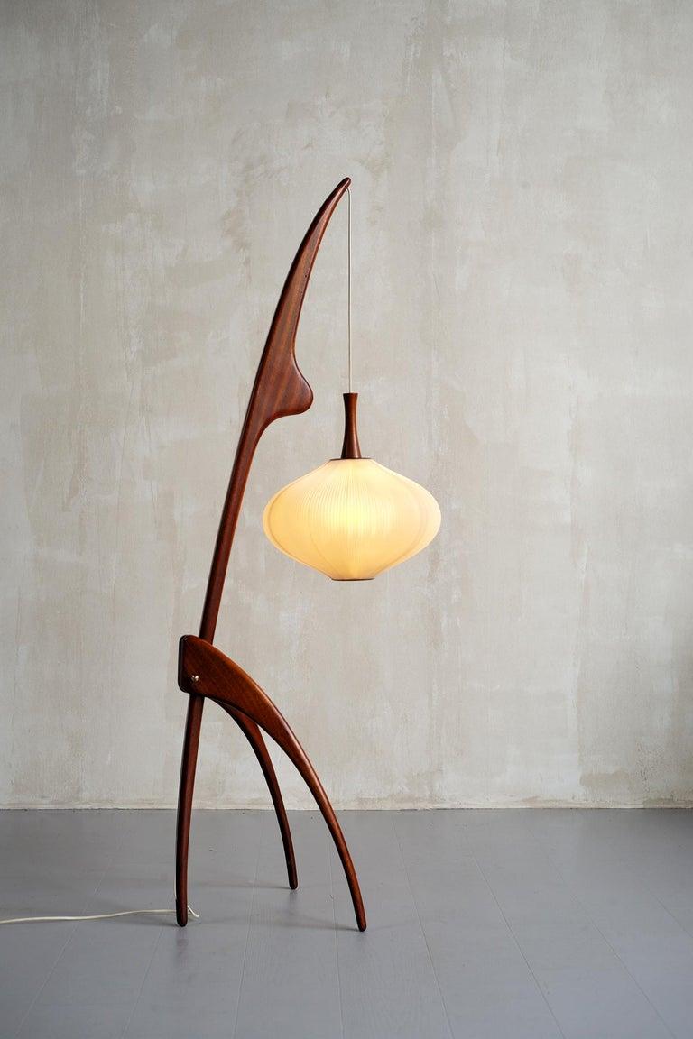 Mid-Century Modern Jean Rispal, Floor Lamp in Mahogany N ° 14.950, France, 1955 For Sale