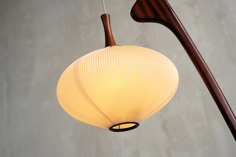 French Jean Rispal, Floor Lamp in Mahogany N ° 14.950, France, 1955 For Sale