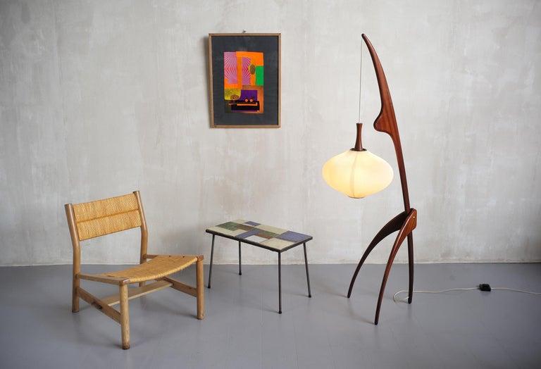 Jean Rispal, Floor Lamp in Mahogany N ° 14.950, France, 1955 For Sale 3