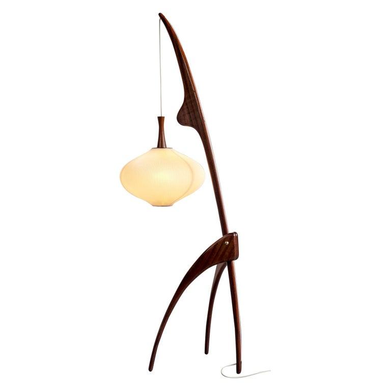 Jean Rispal, Floor Lamp in Mahogany N ° 14.950, France, 1955 For Sale