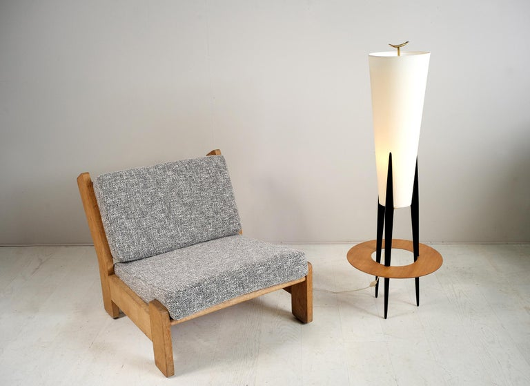 Jean Rispal, Japanese Tripod Floor Lamp, France, 1950 In Good Condition For Sale In Catonvielle, FR