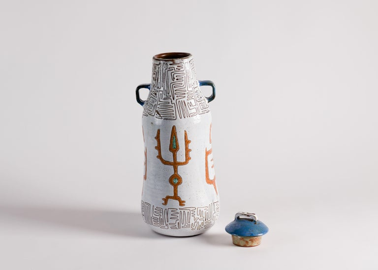 French Jean Rivier, Tall Midcentury Ceramic Vase with Lid, France, circa 1950 For Sale