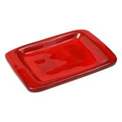 Jean & Robert Cloutier Red Ceramic Dish, France, c. 1950