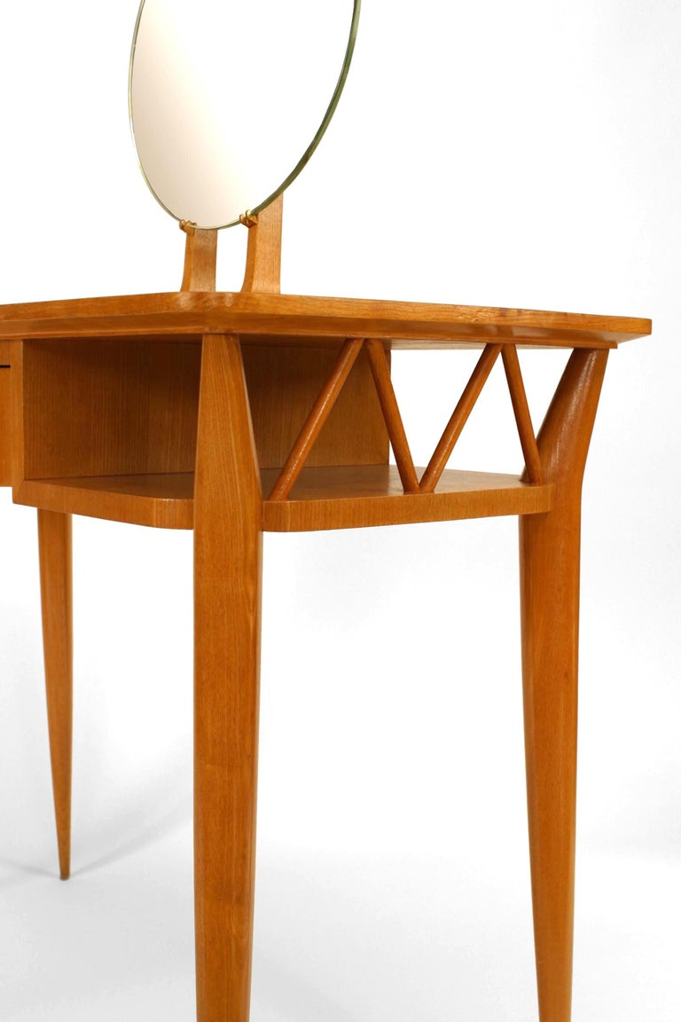 French 1940s Parquetry Dressing Table with Vanity Mirror For Sale