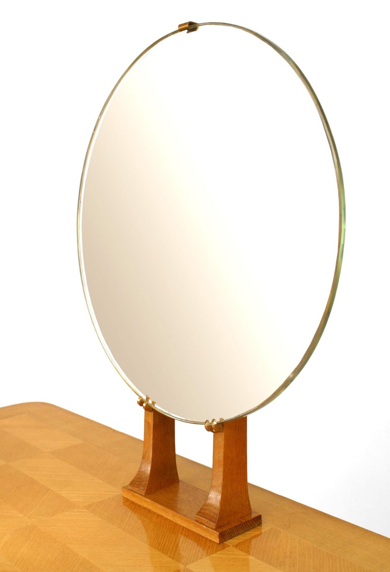 1940s Parquetry Dressing Table with Vanity Mirror In Good Condition For Sale In New York, NY
