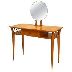Jean Royère 1940s Parquetry Dressing Table with Vanity Mirror