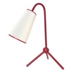 """Jean Royère Style """"1955"""" Table Lamp in Red"""