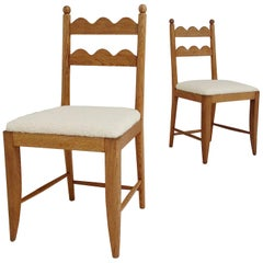 Jean Royere Attributed Pair of Oak Chairs, circa 1946, France