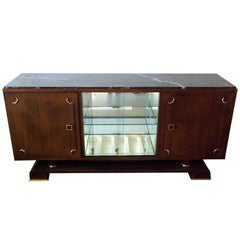 Jean Royère Mahogany Credenza with Marble Top
