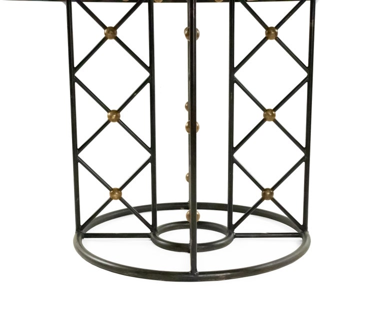 Jean Royère Round Iron Dining Table with Glass Top In Good Condition For Sale In New York, NY