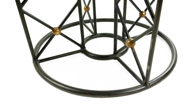20th Century Jean Royère Round Iron Dining Table with Glass Top For Sale
