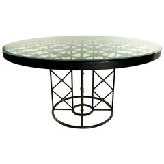 Jean Royère Round Iron Dining Table with Glass Top