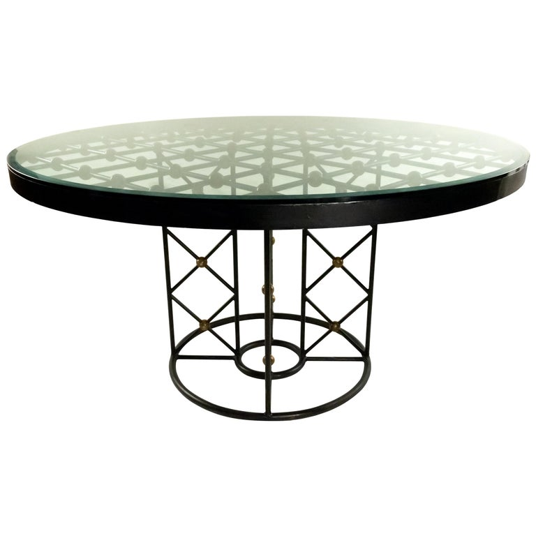 Jean Royère Round Iron Dining Table with Glass Top For Sale