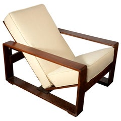 Jean Royère Style Adjustable Lounge Chair in Silk