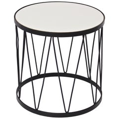 Jean Royere Style Black Iron and White Vitrolite Hairpin Drum Table, 1950s