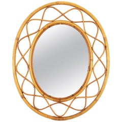 Jean Royère Style French Riviera Bamboo and Rattan Oval Mirror, France, 1960s