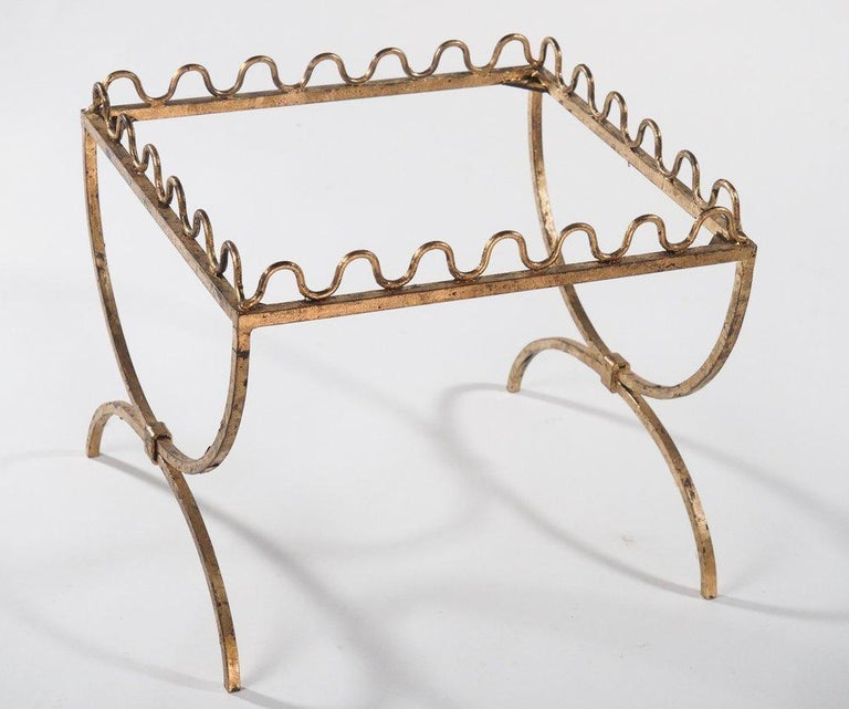 French Jean Royère Style Gold-Leafed Drinks Table/Bench For Sale