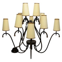 Jean Royère Style Large Chandelier with 12 Shades