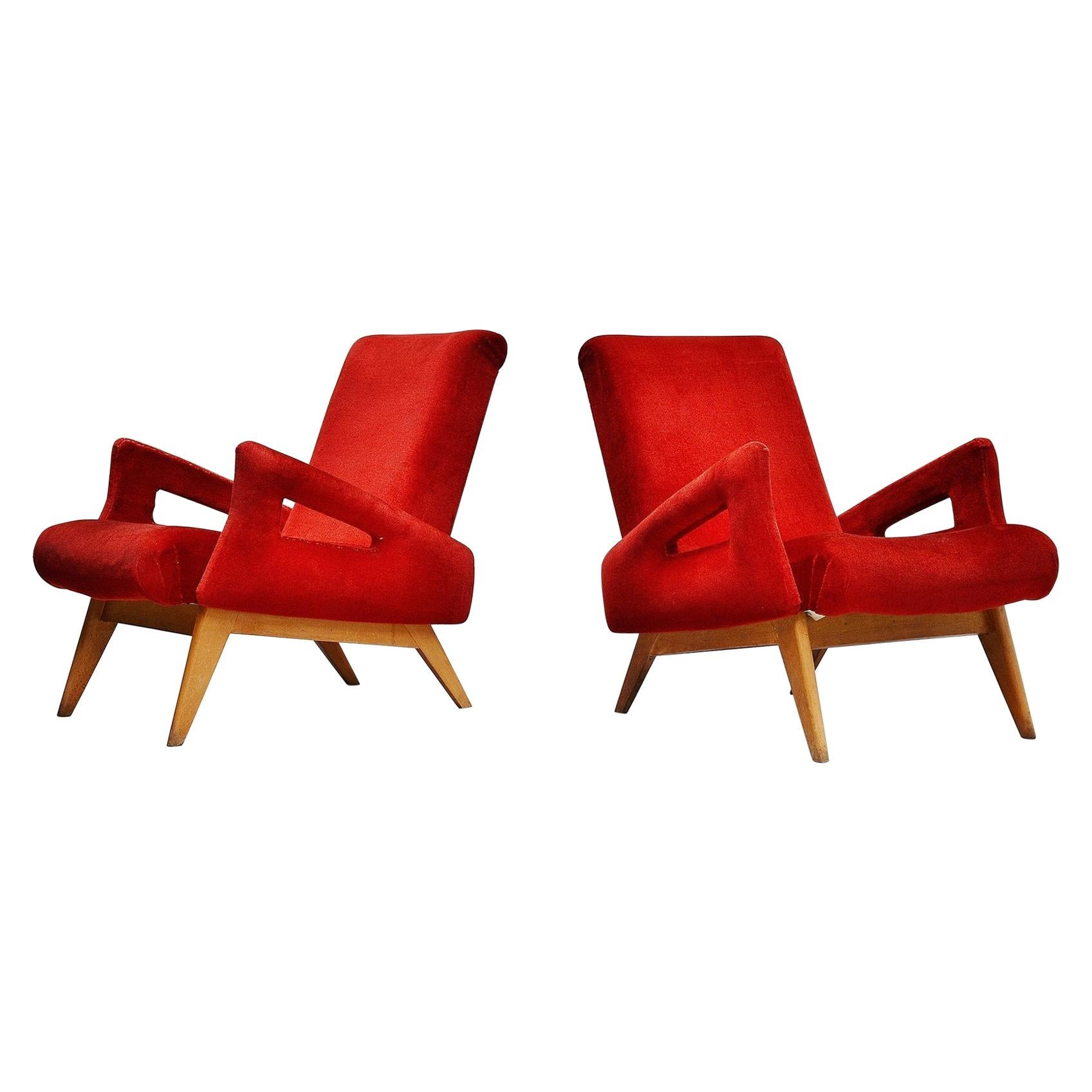 Jean Royère Style Lounge Chairs, France, 1950