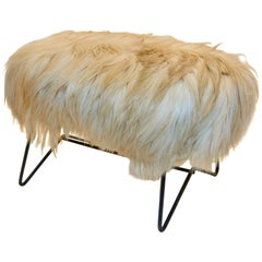 Jean Royère Style Stool in Goat Fur