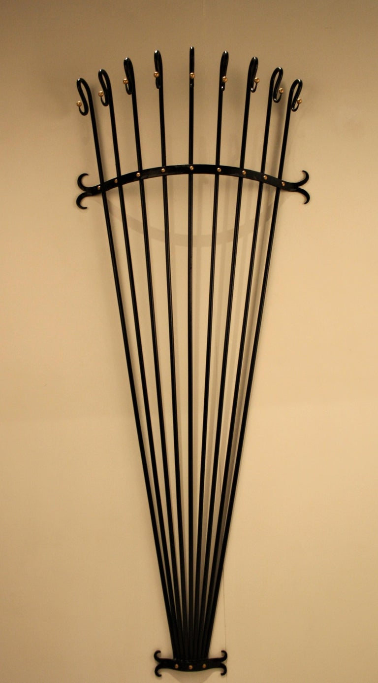 Jean Royère Style Wall Coat Rack, 1950s For Sale 3