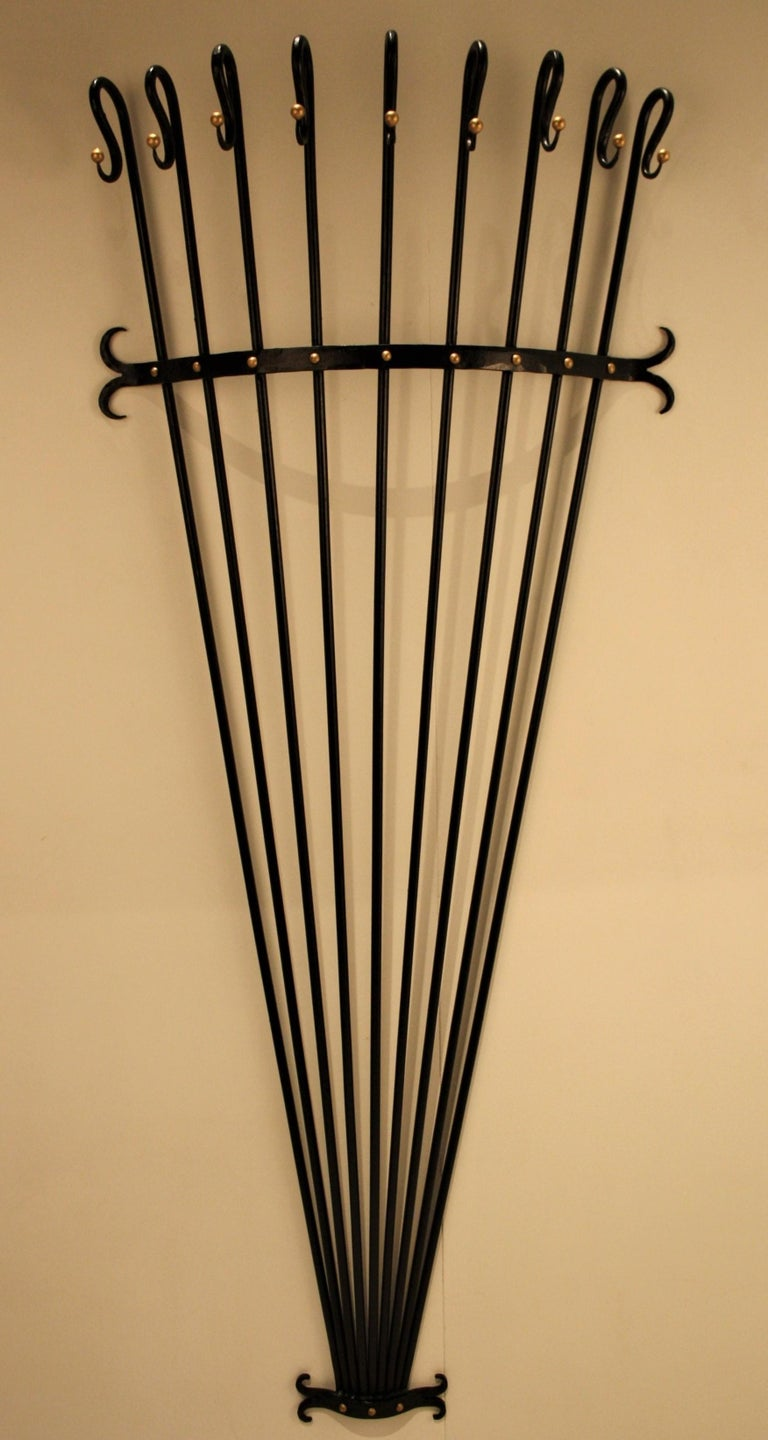 Jean Royère Style Wall Coat Rack, 1950s For Sale 4
