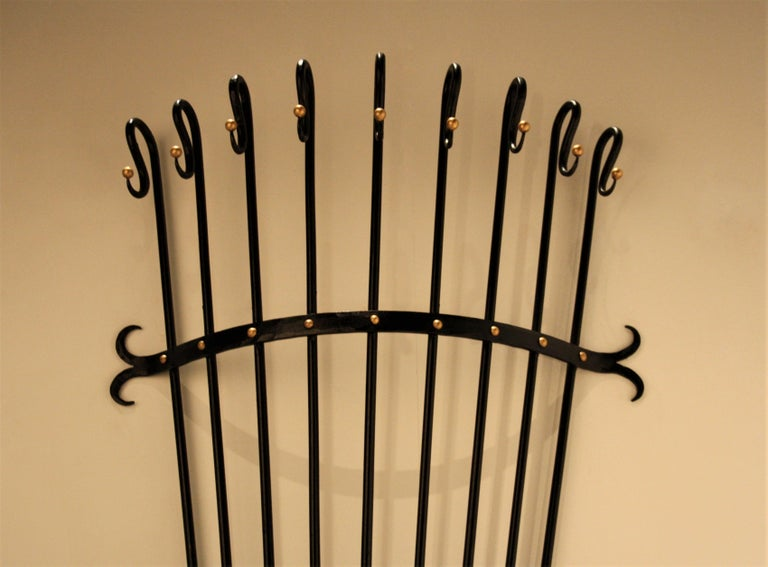 French Jean Royère Style Wall Coat Rack, 1950s For Sale