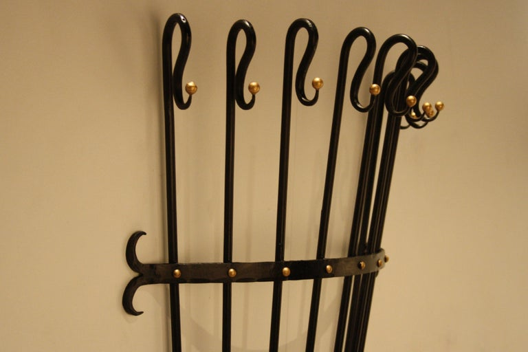 Jean Royère Style Wall Coat Rack, 1950s In Good Condition For Sale In Belgium, BE
