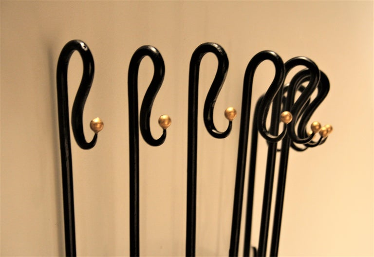 Mid-20th Century Jean Royère Style Wall Coat Rack, 1950s For Sale
