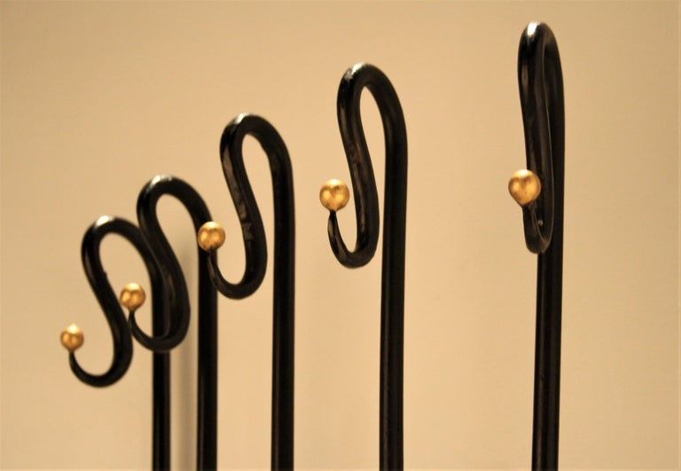Wrought Iron Jean Royère Style Wall Coat Rack, 1950s For Sale