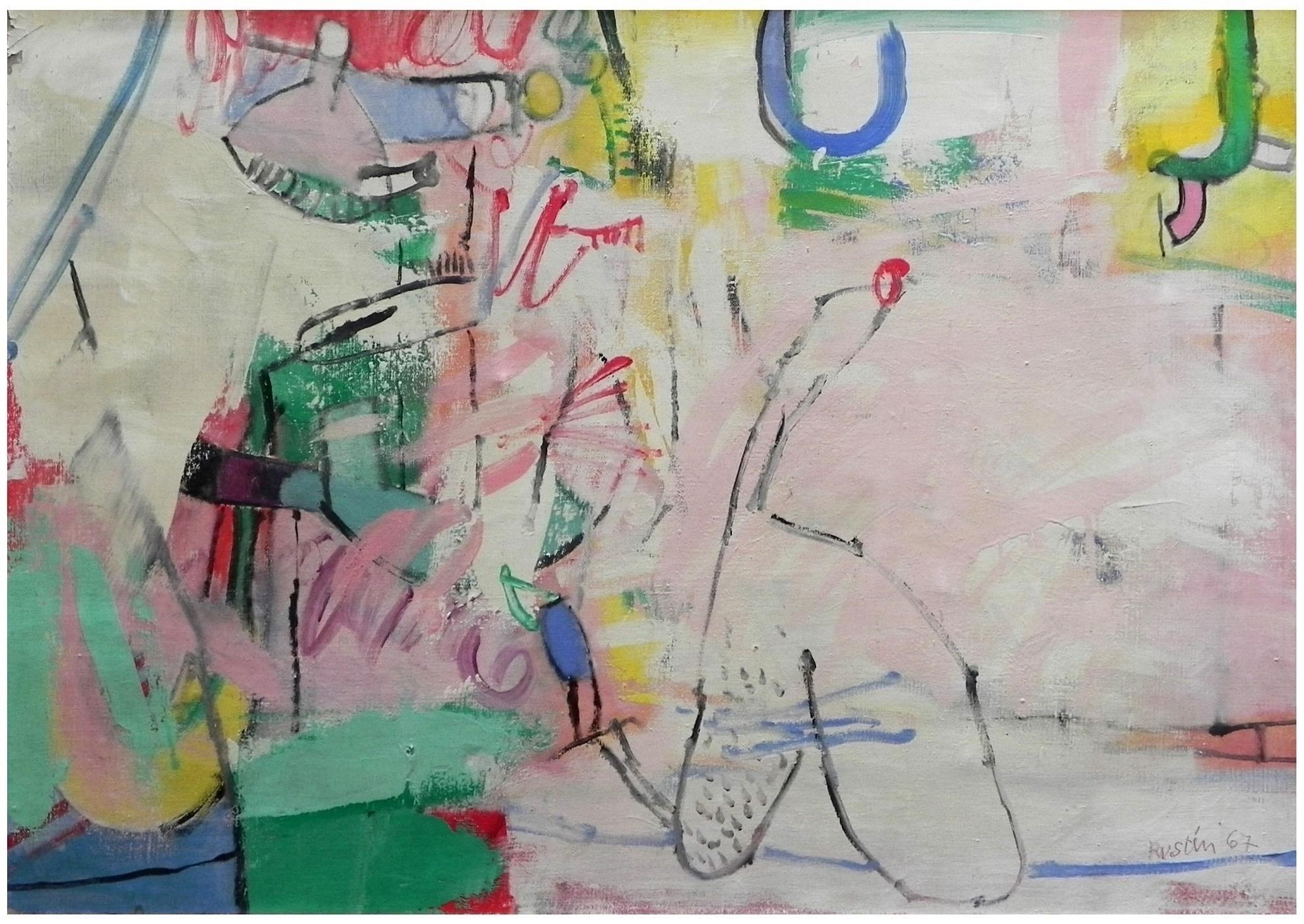 Large Lyrical French Contemporary - Post War Abstract Oil Painting Jean Rustin