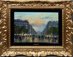 Antique French Impressionist Paris Cityscape Original Jean Salabet Oil Painting