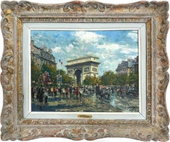 """Arc de Triomphe"" Post-Impressionist Parisian Street Scene Oil on Canvas"