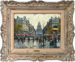 """Cafés et Panthéon"" Impressionist Parisian Street Scene Oil Painting on Canvas"