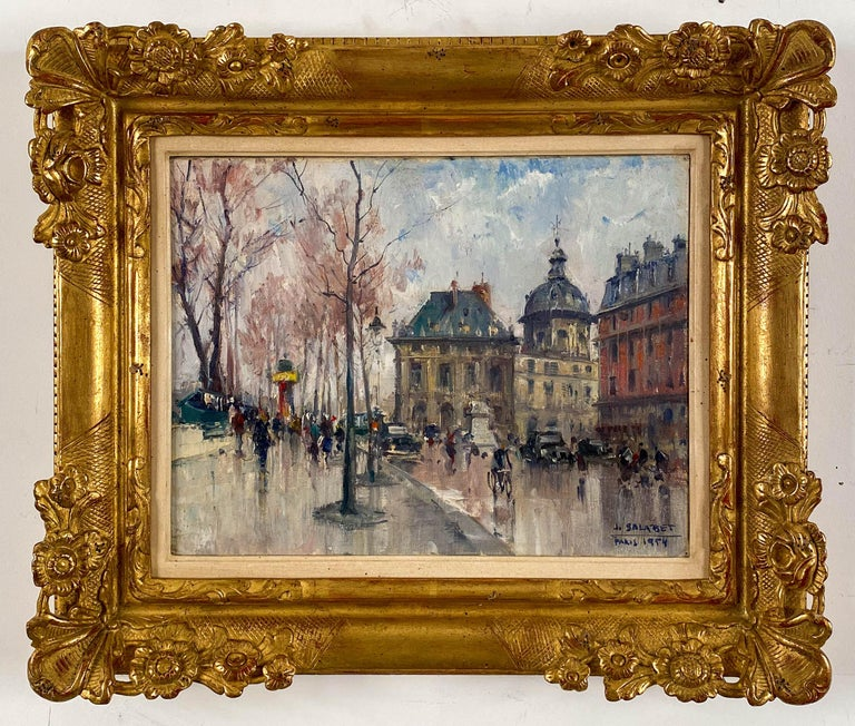 Jean Salabet French, 20th Century Les Bouquiniste, Paris  Oil on canvas  10 ¾ by 13 ¾ in.   W/frame 16 ½ by 19 ½ in. Signed lower right & dated 1954  Jean Salabet was a School of Paris painter know for his colorful Parisian cityscapes.  His work is
