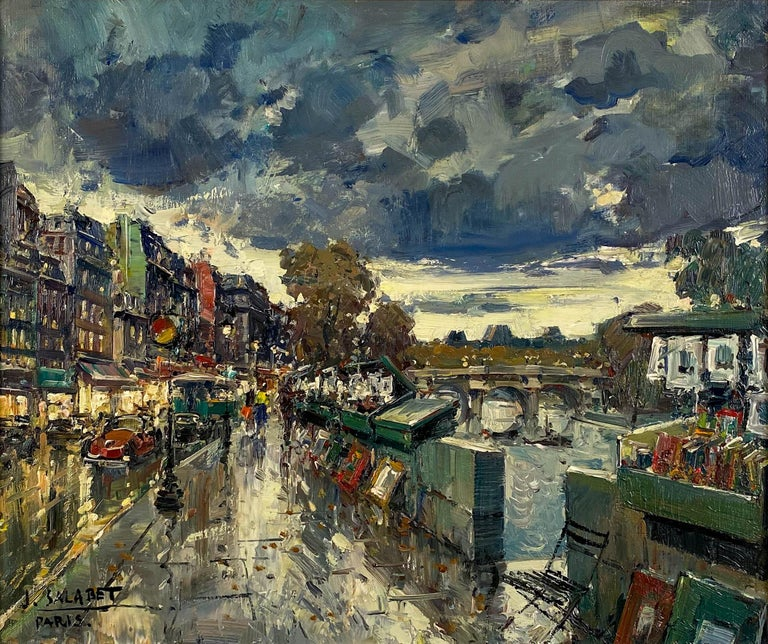 Les Bouquinistes, Paris - Painting by Jean Salabet