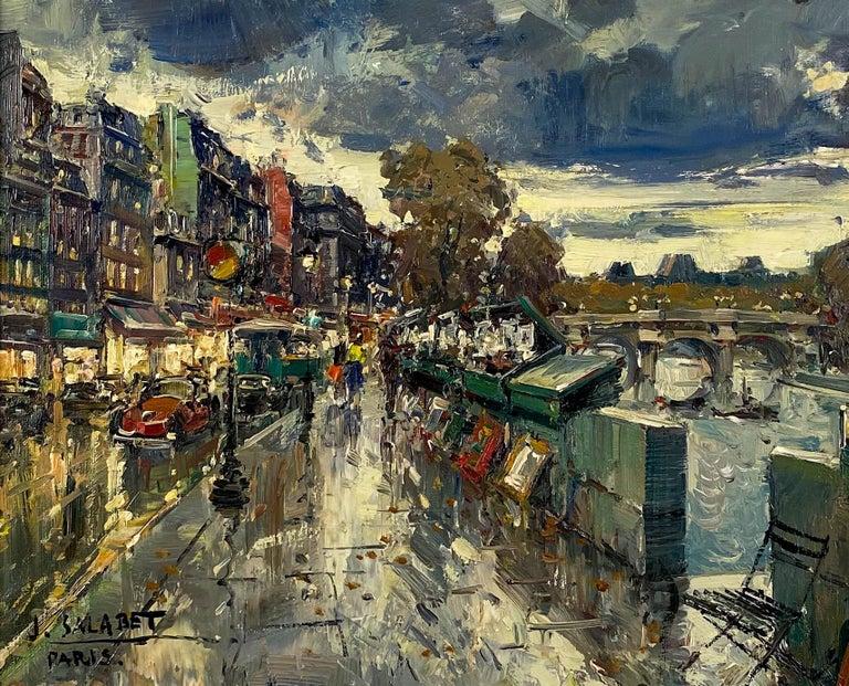 Les Bouquinistes, Paris - Post-Impressionist Painting by Jean Salabet