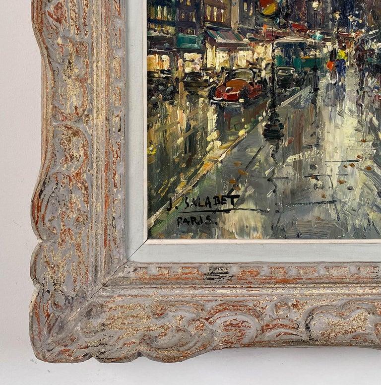 Les Bouquinistes, Paris - Brown Landscape Painting by Jean Salabet