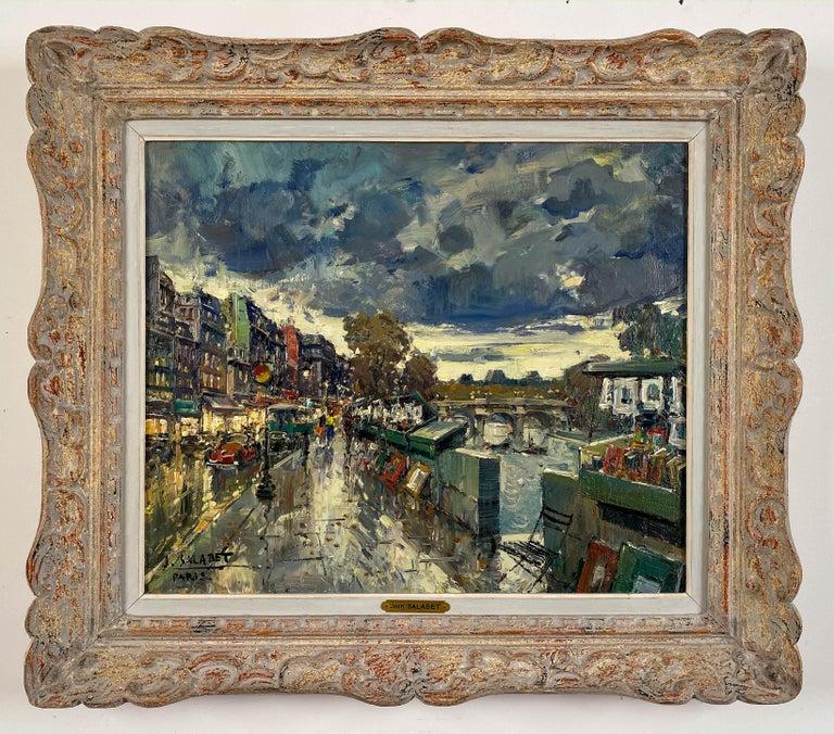Jean Salabet Landscape Painting - Les Bouquinistes, Paris